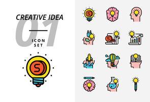 Icon pack voor creatief idee, geld, brainstorm, idee, creatief, ecologie, geld, handelspapier, piloot, ballon, raket, boek, onderwijs. vector