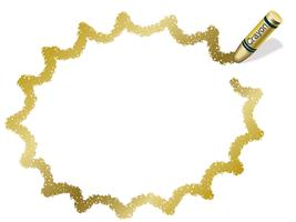 Gouden kleurpotloodframe / toespraakbel, vectorillustratie.