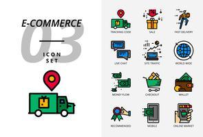 Icon pack voor e-commerce, trackingcode, verkoop, snelle levering, geldstroom, afrekenen, portemonnee, live chat, siteverkeer, wereldwijd, mobiel, online markt. vector