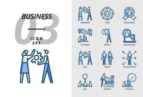 Icon pack voor bedrijven, teamwerk, team, prestatie, klant, mensen, headhunting, idee, mensen, kansen, groei, groei, planning. vector