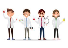 kinderen in verschillende karakters. schoolonderzoek in de chemie