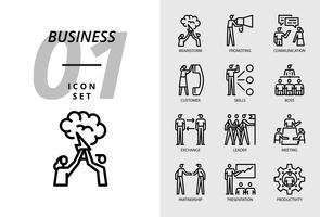 Icon pack voor bedrijven, brainstorm, promotie, communicatie, klant, vaardigheden, baas, uitwisseling, leider, vergadering, partnerschap, presentatie, productiviteit. vector
