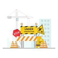 In aanbouw Concept met einde, veiligheid en verkeersteken op vlak ontwerp