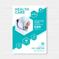 Gezondheidszorg dekking a4 sjabloonontwerp voor een rapport en medische brochureontwerp, flyer, folders decoratie voor afdrukken en presentatie vectorillustratie vector