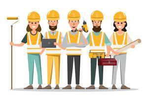 architect, voorman, bouwvakker in verschillende functies