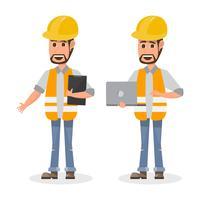 architect, voorman, technische bouwvakker in ander karakter vector