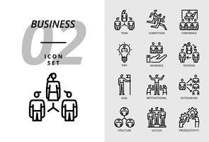 Icon pack voor zaken, team, competitie, conferentie, idee, verzekering, rotatie, doel, motivatie, outsourcing, structuur, succes, productiviteit. vector