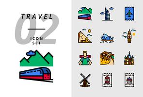 Pack-pictogram voor reizen, treinvervoer, Dubai, vliegticket, piramide, opera, Big Ben, backpacker, grote muur, Taj Mahal, windmolen, treinkaartje, bootticket.