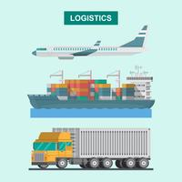 Vracht logistiek vliegtuig, transport containerschip en vrachtwagen