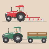 reeks van tractormachine in landelijke boerderij vector