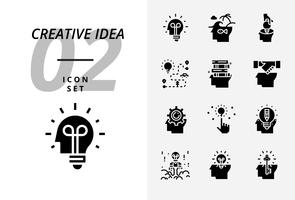 Icon pack voor creatief idee, brainstormen, idee, creatief, lamp, reizen, weg, reis, plan, boek, onderwijs, handdruk, business, management, potlood. vector