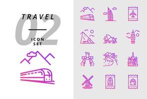 Pack-pictogram voor reizen, treinvervoer, Dubai, vliegticket, piramide, opera, Big Ben, backpacker, grote muur, Taj Mahal, windmolen, treinkaartje, bootticket. vector
