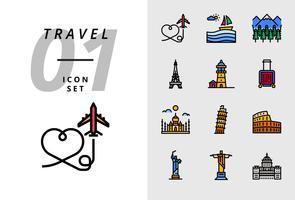 Pack pictogram voor reizen, vliegtuig, landschap, bos, Parijs toren, vuurtoren, trolley tas, Taj Mahal, Pisa toren, Colosseum, standbeeld van Verenigde Staten, deja neiro, kapitaal gebruik.