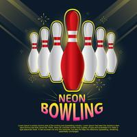 Neon Bowling cover ontwerp vector