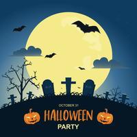 Halloween-nachtachtergrond met pompoen en donker kasteel onder het maanlicht. vector