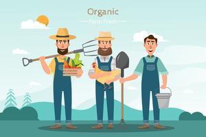 gelukkig man boer cartoon karakter in biologische boerderij op het platteland