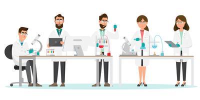 medische concept. Wetenschappers man en vrouw onderzoek in een laboratoriumlab vector