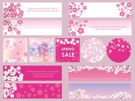 Set van geassorteerde kersenbloesem banners / frames / kaarten. vector