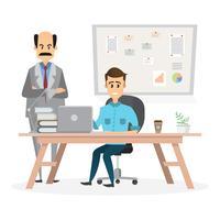 Angry Big Boss kijkt naar de werknemer op kantoor vector