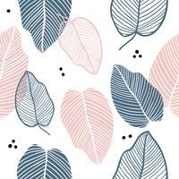 Bloemen naadloos patroon van bladeren in vlakke stijl. vector