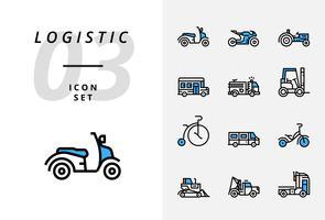 Icon pack voor logistiek, snelle vrachtwagen, aankoop, levertijd, vorkheftruck, container, verpakking, container, schip, postbode, luchtvracht, fietsboodschapper, tracking. vector