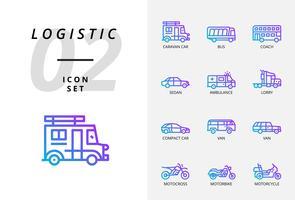 Icon pack voor logistiek, drone bezorging, bestemming, droog houden, wereldwijde logistiek, thuis, aankoop, veilig, levertijd, beschermen, bezorgen, veilig, trolly. vector