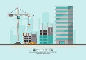 Bouwplaatswerkproces in aanbouw met kranen en machines vector