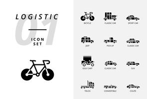 Icon pack voor logistiek, flatbed truck, zoek product, aflevering vinden, vliegtuig, gewicht, scooter, locatie, beschermd, levering, trein, schip, wereldlocatie. vector