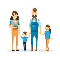 Gelukkig gezin. Vader, moeder, baby, zoon en dochter die op witte achtergrond wordt geïsoleerd