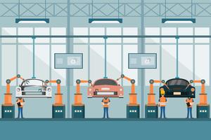 slimme industriële fabriek in een vlakke stijl