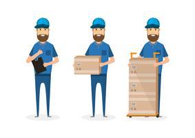 set van levering man met kartonnen doos vector