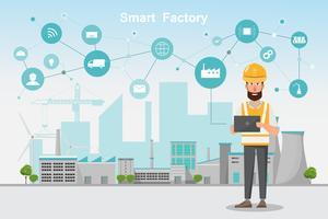 Moderne fabriek 4.0, slimme geautomatiseerde productie vanaf smartphone en tablet vector