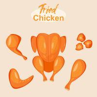 pittige en smakelijke gebakken kip op plat ontwerp.