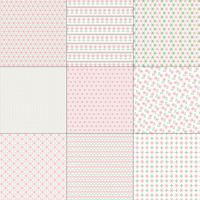 Roze en groene kruissteekpatronen vector