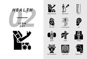 Icon pack voor gezondheid, ziekenhuis, bloeddruk, lichaamsgewicht, lengte, vitaal teken, lichamelijk onderzoek, oor, nier, lever, schildklier, oogarts, thoraxfoto, rinologie.