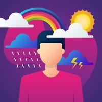 Man In Depressieve Gemoedsgesteldheid Illustratie vector
