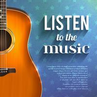 Muziekachtergrond met gitaar vector
