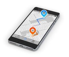 Mobiele navigatie voor smartphones vector