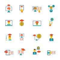 Online onderwijs pictogrammen plat