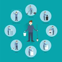 Het schoonmaken van mensen concept vector