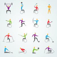 Gehandicapt Sport Icons Set vector