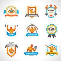 Bodybuilding emblemen instellen
