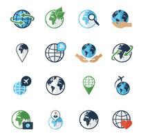 Globe aarde pictogrammen instellen plat vector