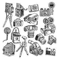Camera doodle schets iconen set vector