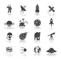 ruimte pictogrammen zwart vector
