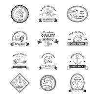 Zeevruchten Retro emblemen vector