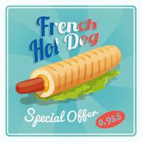 Franse hotdog-poster vector