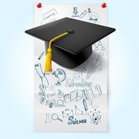 Onderwijs schets met hoed vector