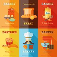 Bakkerij mini-poster set vector