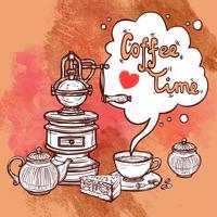 Koffie schets achtergrond vector